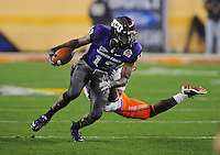 Jan. 4, 2010; Glendale, AZ, USA; TCU Horned Frogs wide receiver (13) Antoine Hicks against the Boise State Broncos in the 2010 Fiesta Bowl at University of Phoenix Stadium. Boise State defeated TCU 17-10. Mandatory Credit: Mark J. Rebilas-