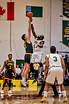 16 March 2019: University of Vermont Catamount Forward Samuel Dingba, a Redshirt Senior from Yaounde, Cameroon, wins the opening tip-off against Center Sam Schwietz, a Junior from Frisco, Texas, of the UMBC Retrievers in the America East Championship Game at Patrick Gymnasium in Burlington, Vermont. The Catamounts defeated the Retrievers 66-49, avenging their loss against the same team in last years' Championship Game. Mandatory Credit: Ed Wolfstein Photo *** RAW (NEF) Image File Available ***