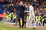 Real Madrid's coach Zinedine Zidane talking with Mateo Kovacic during La Liga match between Real Madrid and Real Sociedad at Santiago Bernabeu Stadium in Madrid, Spain. January 29, 2017. (ALTERPHOTOS/BorjaB.Hojas)