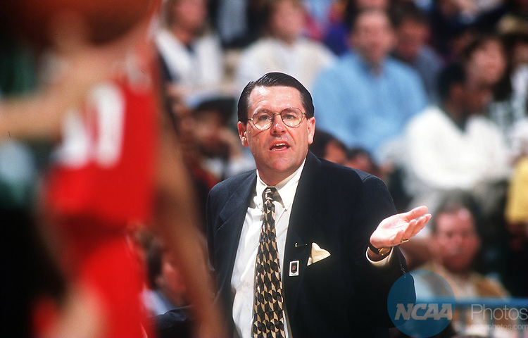 31 MAR 1996:  University of Georgia coach Andy Landers during the final game of the Women's Final Four basketball championship held at Charlotte Coliseum in Charlotte, NC. Tennessee defeated Georgia 83-65 for the championship title, and Marciniak was named the game's MVP. Jim Gund/NCAA Photos.