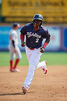 Reading Fightin Phils left fielder Cornelius Randolph (2) runs the bases during the first game of a doubleheader against the Portland Sea Dogs on May 15, 2018 at FirstEnergy Stadium in Reading, Pennsylvania.  Portland defeated Reading 8-4.  (Mike Janes/Four Seam Images)