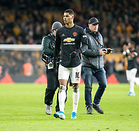 4th January 2020; Molineux Stadium, Wolverhampton, West Midlands, England; English FA Cup Football, Wolverhampton Wanderers versus Manchester United; Marcus Rashford of Manchester United walking to the supporters after the match - Strictly Editorial Use Only. No use with unauthorized audio, video, data, fixture lists, club/league logos or 'live' services. Online in-match use limited to 120 images, no video emulation. No use in betting, games or single club/league/player publications