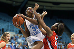 05 December 2012: North Carolina's Xylina McDaniel (34) is fouled by Radford's Sarah Tabb (21). The University of North Carolina Tar Heels played the Radford University Highlanders at Carmichael Arena in Chapel Hill, North Carolina in an NCAA Division I Women's Basketball game. UNC won the game 64-44.