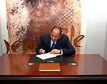 Egyptian President Abdel Fattah al-Sisi visits the Kigali Genocide Memorial in Kigali on August 15, 2017, shortly after his arrival for a visit. The Egyptian President is paying a two day visit to Rwanda. Photo by Egyptian President Office