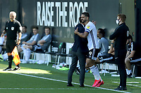 18th July 2020; Craven Cottage, London, England; English Championship Football, Fulham versus Sheffield Wednesday; Aleksandar Mitrovic of Fulham celebrates his goal with Fulham Manager Scott Parker for 2-0 in minute 26