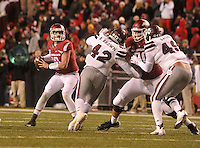 NWA Democrat-Gazette/MICHAEL WOODS • <br /> University of Arkansas quarterback Brandon Allen looks for an open receiver as he drops back to pass during the 3rd quarter of Saturday nights game at Razorback Stadium November 21, 2015.