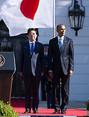 United States President Barack Obama welcomes Prime Minister Shinzo Abe of Japan to The White House in Washington DC for a State Visit, April 28, 2015. <br /> Credit: Chris Kleponis / CNP