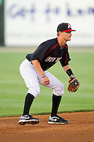 Kannapolis Intimidators shortstop Jake Brown (10) on defense against the Savannah Sand Gnats at CMC-Northeast Stadium on May 30, 2013 in Kannapolis, North Carolina. The Intimidators defeated the San Gnats 5-4 in 11 innings..   (Brian Westerholt/Four Seam Images)