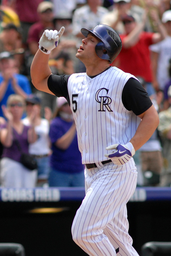 20 July 08: Colorado Rockies outfielder Matt Holliday celebrates a homerun hit against the Pittsburgh Pirates. The Rockies defeated the Pirates 11-3 at Coors Field in Denver, Colorado. FOR EDITORIAL USE ONLY. FOR EDITORIAL USE ONLY