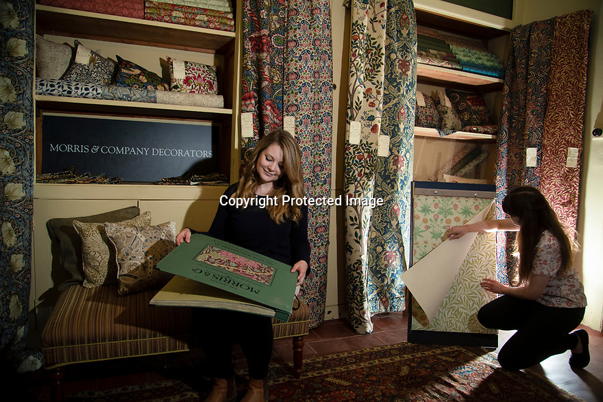 29/05/15<br /> <br /> Kim Jones and Alice Johnson in the recreation of Morris & Co. showroom.<br /> <br /> Morris & Co. Inspired by Nature at Standen House and Garden, the National Trust's Arts and Craft House in East Grinstead, West Sussex delves in to the World of Morris & Co. Discover how repeating patterns of flowers and birds were chosen for the designs and the value that Morris placed on the revival of traditional skill. 1 Jun - 10 Nov 2019.<br /> <br /> All Rights Reserved: F Stop Press Ltd. +44(0)1335 418365   +44 (0)7765 242650 www.fstoppress.com