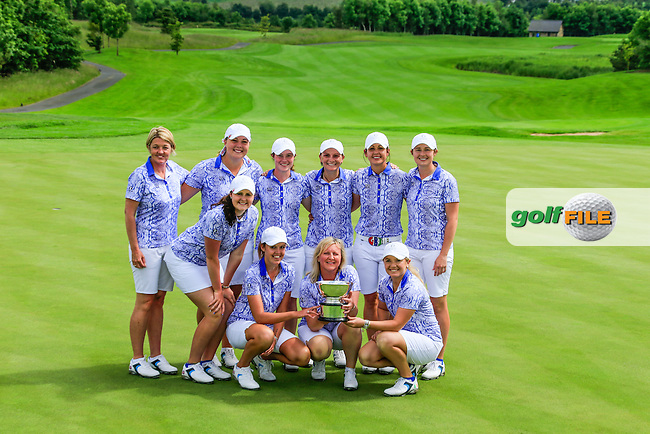 Team GB &amp; I lift the Curtis Cup after there win in the  Sunday Singles matches at the 2016 Curtis cup from Dun Laoghaire Golf Club, Ballyman Rd, Enniskerry, Co. Wicklow, Ireland. 12/06/2016.<br /> Picture Fran Caffrey / Golffile.ie<br /> <br /> All photo usage must carry mandatory copyright credit (&copy; Golffile | Fran Caffrey)