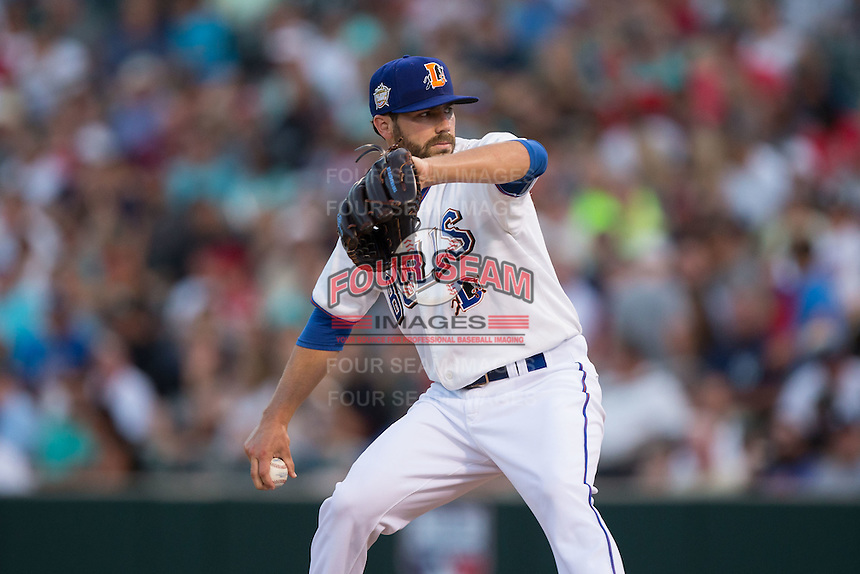 Austin Pruitt (6) of the Durham Bulls in action at the 29th Annual Triple-A All-Star Game at BB&T BallPark on July 13, 2016 in Charlotte, North Carolina.  The International League defeated the Pacific Coast League 4-2.   (Brian Westerholt/Four Seam Images)
