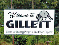 Gillett, Arkansas sign, Home of the Coon Supper