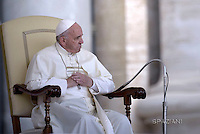 Pope Francis  during his weekly general audience in St. Peter square at the Vatican, Wednesday.April 27 2016.