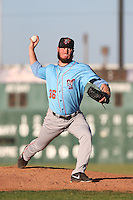 Michael Smith #36 of the Inland Empire 66ers pitches against the Lancaster JetHawks at The Hanger on May 26, 2014 in Lancaster, California. Lancaster defeated Inland Empire, 6-5. (Larry Goren/Four Seam Images)