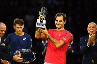 27th October 2019; St. Jakobshalle, Basel, Switzerland; ATP World Tour Tennis, Swiss Indoors Final; Roger Federer (SUI) receives a commemorative trophy celebrating his tenth title in Basel after winning the match against Alex de Minaur (AUS) - Editorial Use
