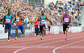 June 15th 2017, Bislett Stadion , Oslo, Norway; Diamond League Oslo Bislett Games;  L-R Reece Prescod of Great Britain, Reece Prescod of Great Britain, Chijindu Utah of Great Britain and Andre De Grasse of Canada compete in the men's 100m during the IAAF Diamond League held at the Bislett Stadium