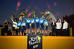 Movistar Team win the team classification on the final podium at the end of Stage 21 of the 2019 Tour de France running 128km from Rambouillet to Paris Champs-Elysees, France. 28th July 2019.<br /> Picture: ASO/Pauline Ballet | Cyclefile<br /> All photos usage must carry mandatory copyright credit (© Cyclefile | ASO/Pauline Ballet)