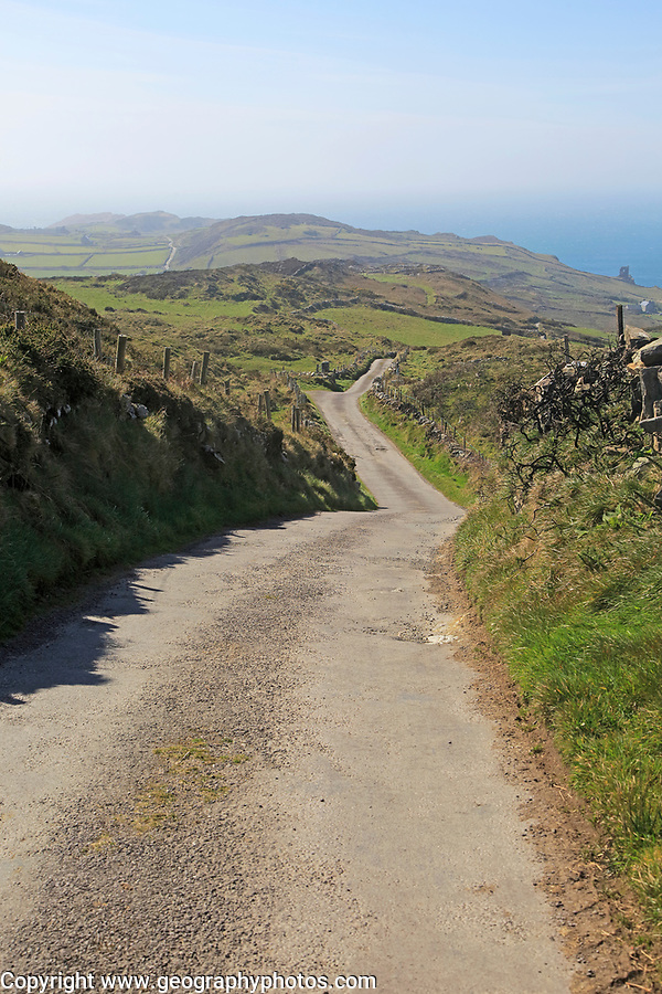 Long country lane road on Cape Clear Island, County Cork, Ireland, Irish Republic