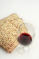 Jewish passover matzoh and red wine