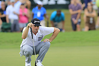 Keegan Bradley (USA) lines up his putt on the 18th green during Saturday's Round 3 of the 2017 PGA Championship held at Quail Hollow Golf Club, Charlotte, North Carolina, USA. 12th August 2017.<br /> Picture: Eoin Clarke | Golffile<br /> <br /> <br /> All photos usage must carry mandatory copyright credit (&copy; Golffile | Eoin Clarke)