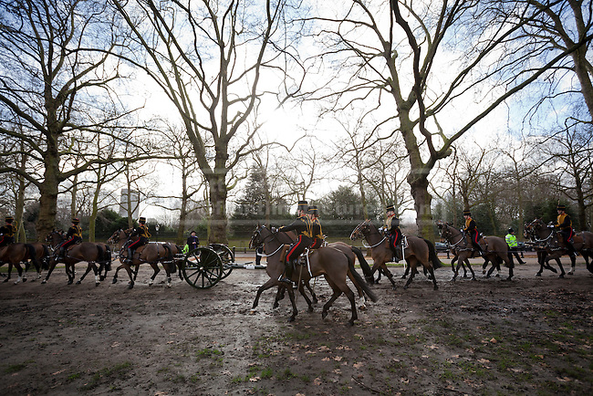 06/02/2013. London, UK. Members of the King's Troop, Royal Horse Artillery, ride through Green Park on their way to stage a 41 Gun Royal Salute marking the 61st Anniversary of the Accession of Her Majesty The Queen in London today (06/02/13). Photo credit: Matt Cetti-Roberts