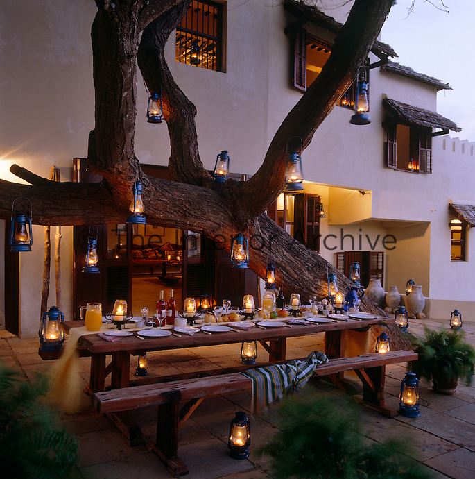 Storm lanterns hang from the massive trunk of a baobab tree and along the table which is laid for dinner in the garden of the beach house
