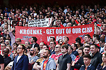 Fans show their displeasured at Stan Kroenke, Arsenal's largest shareholder during the English Premier League match at the Emirates Stadium, London. Picture date: May 21st 2017.Pic credit should read: Charlie Forgham-Bailey/Sportimage