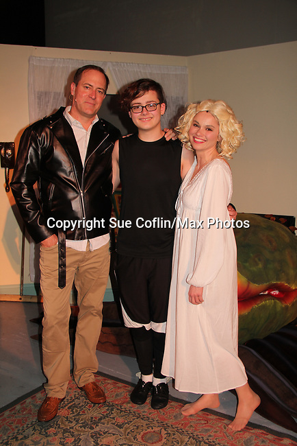 """- Guiding Light's Mandy Bruno and Robert Bogue and Kelly Krieger star in Lilttle Shop of Horrors The Musical on May 27, 2018 presented by CaPAA at the Ritz Theater in Scranton, PA. Mandy is """"Audrey"""", Robert is """"Orian, Berstein, Luce, Snip, Martin"""" and Kelly is """"Seymour"""". Mandy is  also the director, set designer, video projection production, props and costumes. Also their children Zeb (15), Zoe (13) and Flynn (6) were at this show and many others. (Photo by Sue Coflin/Max Photo)"""