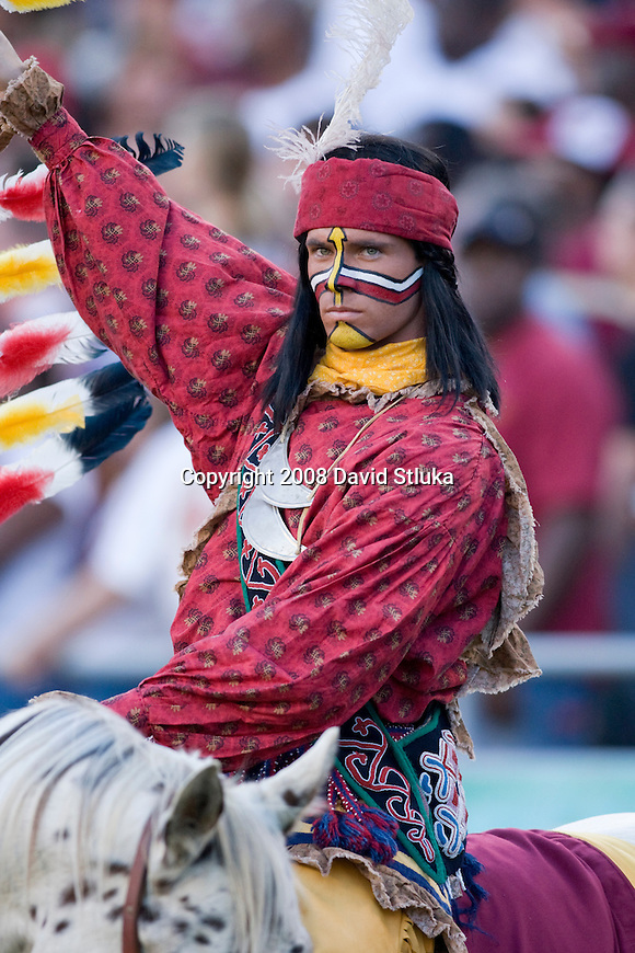 ORLANDO, FL - DECEMBER 27: The Florida State Seminoles mascot Chief Osceola looks on during the game against the Wisconsin Badgers during the Champs Sports Bowl on December 27, 2008 at the Citrus Bowl in Orlando, Florida. Florido State beat Wisconsin 42-13. (Photo by David Stluka)