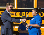 A student speaks at the Propane Education and Research Council Adopt a Classroom event at Lemmon Valley Elementary School on Tuesday, September 27, 2016.