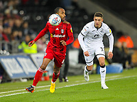 29th November 2019; Liberty Stadium, Swansea, Glamorgan, Wales; English Football League Championship, Swansea City versus Fulham; Denis Odoi of Fulham chases the loose ball - Strictly Editorial Use Only. No use with unauthorized audio, video, data, fixture lists, club/league logos or 'live' services. Online in-match use limited to 120 images, no video emulation. No use in betting, games or single club/league/player publications