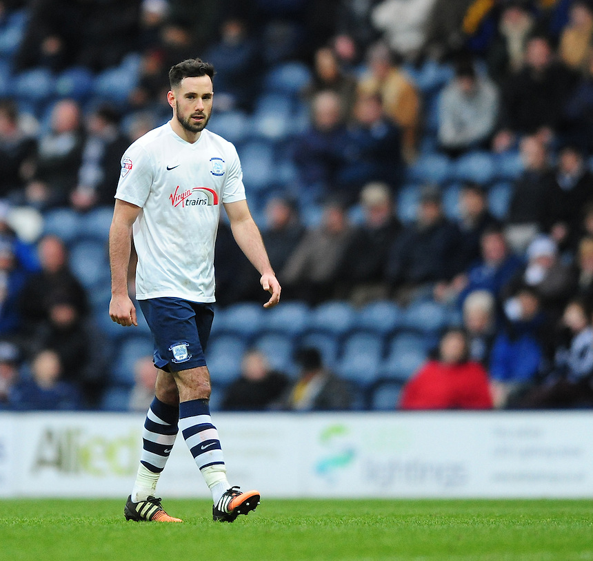 Preston North End's Greg Cunningham <br /> <br /> Photographer Chris Vaughan/CameraSport<br /> <br /> Football - The Football League Sky Bet Championship - Preston North End v Brentford - Saturday 23rd January 2016 -  Deepdale - Preston<br /> <br /> &copy; CameraSport - 43 Linden Ave. Countesthorpe. Leicester. England. LE8 5PG - Tel: +44 (0) 116 277 4147 - admin@camerasport.com - www.camerasport.com