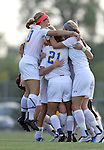 BROOKINGS, SD - AUGUST 23:  South Dakota State University celebrates a goal against Iowa State in the second half of their game Friday evening at Fischback Soccer Field in Brookings. (Photo by Dave Eggen/Inertia)