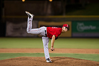 AZL Angels relief pitcher Luke Lind (49) follows through on a pitch during a game against the AZL Giants on July 10, 2017 at Scottsdale Stadium in Scottsdale, Arizona. AZL Giants defeated the AZL Angels 3-2. (Zachary Lucy/Four Seam Images)