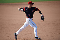 Batavia Muckdogs third baseman Tyler Curtis (11) throws to first base for the out during the second game of a doubleheader against the Williamsport Crosscutters on August 20, 2017 at Dwyer Stadium in Batavia, New York.  Batavia defeated Williamsport 4-3.  (Mike Janes/Four Seam Images)