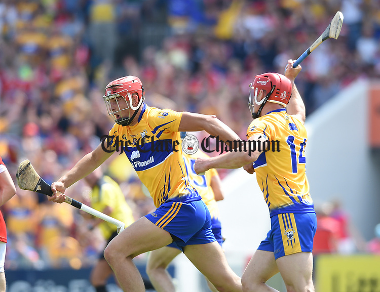 Peter Duggan of Clare celebrates a goal against Cork during their Munster senior hurling final at Thurles. Photograph by John Kelly.