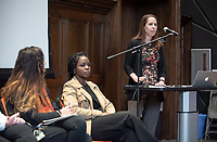 "Introduction by Laura Hebert, Associate Professor, Diplomacy and World Affairs.<br /> United Nations Week 2019: Gender, Sexuality and Collective Action presents, ""Intersectionality, Inequality, and Collective Action"" on <br /> Tuesday, February 5, 2019 in Choi Auditorium.<br /> Seated from left: moderator Phillip Ayoub, DWA Associate Professor; Malliga Och, Assistant Professor in the Global Studies and Language Department of Idaho State University; Jeanne Holm, Deputy CIO for the city of Los Angeles; Alia Ali, Yemeni-Bosnian-American multimedia artist and visual storyteller and Funmilola Fagbamila, Nigerian American scholar, playwright, and artist.<br /> (Photo by Marc Campos, Occidental College Photographer)"