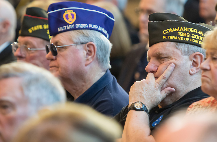 UNITED STATES - JUNE 8 - Vietnam veterans listen to House Speaker John Boehner of Ohio, speak during the Congressional Commemoration Ceremony in honor of the 50th anniversary of the Vietnam War, on Capitol Hill in Washington, D.C. on July 8, 2015. (Photo By Al Drago/CQ Roll Call)