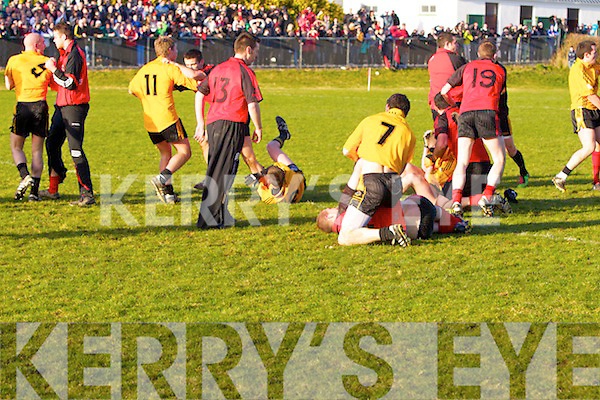High tensions between Listowel Emmets and Tarbert after the final goes to extra time in the The Bernard O'Callaghan Memorial Senior Football Championship Final replay last Sunday afternoon in Con Brosnan Park, Moyvane