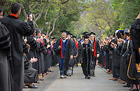 The class of 2015 graduates during Occidental College's 133rd Commencement, the Remsen Bird Hillside Theater, on Sunday, May 17, 2015.<br /> (Photo by Marc Campos, Occidental College Photographer)