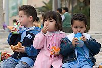 Tripoli, Libya - School Children Having Lunch before Museum Tour.