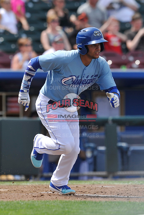 Omaha Storm Chasers third baseman Ramon Torres (2) swings at a pitch against the Oklahoma City Dodgers at Werner Park on June 24, 2018 in Omaha, Nebraska. Omaha won 8-0.  (Dennis Hubbard/Four Seam Images)