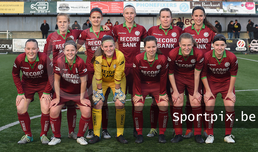 20170414 - Zulte , BELGIUM : Zulte Waregem's team pictured during the soccer match between the women teams of Zulte Waregem and AA Gent Ladies , in the semi final matchday of the Belgian CUP - Beker van Belgie voor Vrouwen competition on Friday 14th April 2017 in Zulte .  PHOTO SPORTPIX.BE DIRK VUYLSTEKE