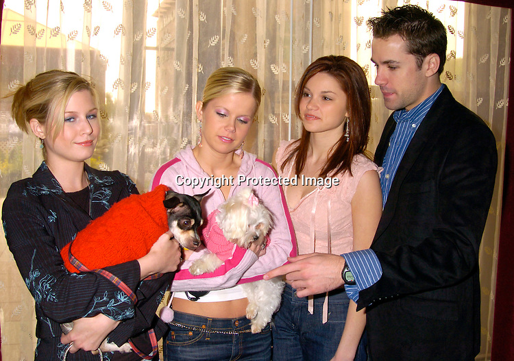 """Stephanie Gatschet and her dog ChiChi, Crystal Hunt and her dog Roxy, Mandy Bruno and John Driscoll ..at the  37th Annual  """"Going Home""""  Luncheon for Animal Haven on October 17, 2004 at the Sheraton LaGuardia East...Photo by Robin Platzer, Twin Images"""