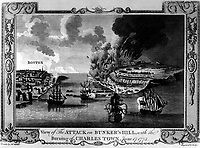 View of The Attack on Bunker's Hill, with the Burning of Charles Town, June 17, 1775.  Copy of engraving by Lodge after Millar, ca. 1775-80.  (George Washington Bicentennial Commision)<br />NARA FILE #:  148-GW-448<br />WAR & CONFLICT #:  15