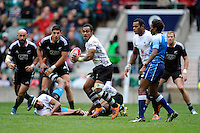 Benito Masilevu of Fiji looks for support during Day Two of the iRB Marriott London Sevens at Twickenham on Sunday 11th May 2014 (Photo by Rob Munro)