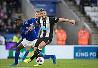 Andy Carroll of Newcastle United & Wilfred Ndidi of Leicester City during the Premier League match between Leicester City and Newcastle United at the King Power Stadium, Leicester, England on 29 September 2019. Photo by Andy Rowland.