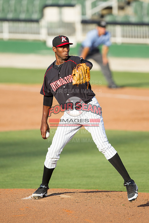 Kannapolis Intimidators relief pitcher Jose Brito (37) in action against the Hagerstown Suns at CMC-Northeast Stadium on June 1, 2014 in Kannapolis, North Carolina.  The Suns defeated the Intimidators 11-5 in game two of a double-header.  (Brian Westerholt/Four Seam Images)