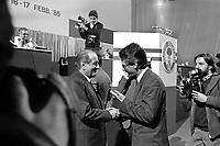 Milano, 16 feb 1985, convegno Partito Socialista Italiano al Palalido. Luigi Lucchini industriale presidente Confindustria.<br /> Milan, February 16 1985, Convention of the Italian Socialist Party.